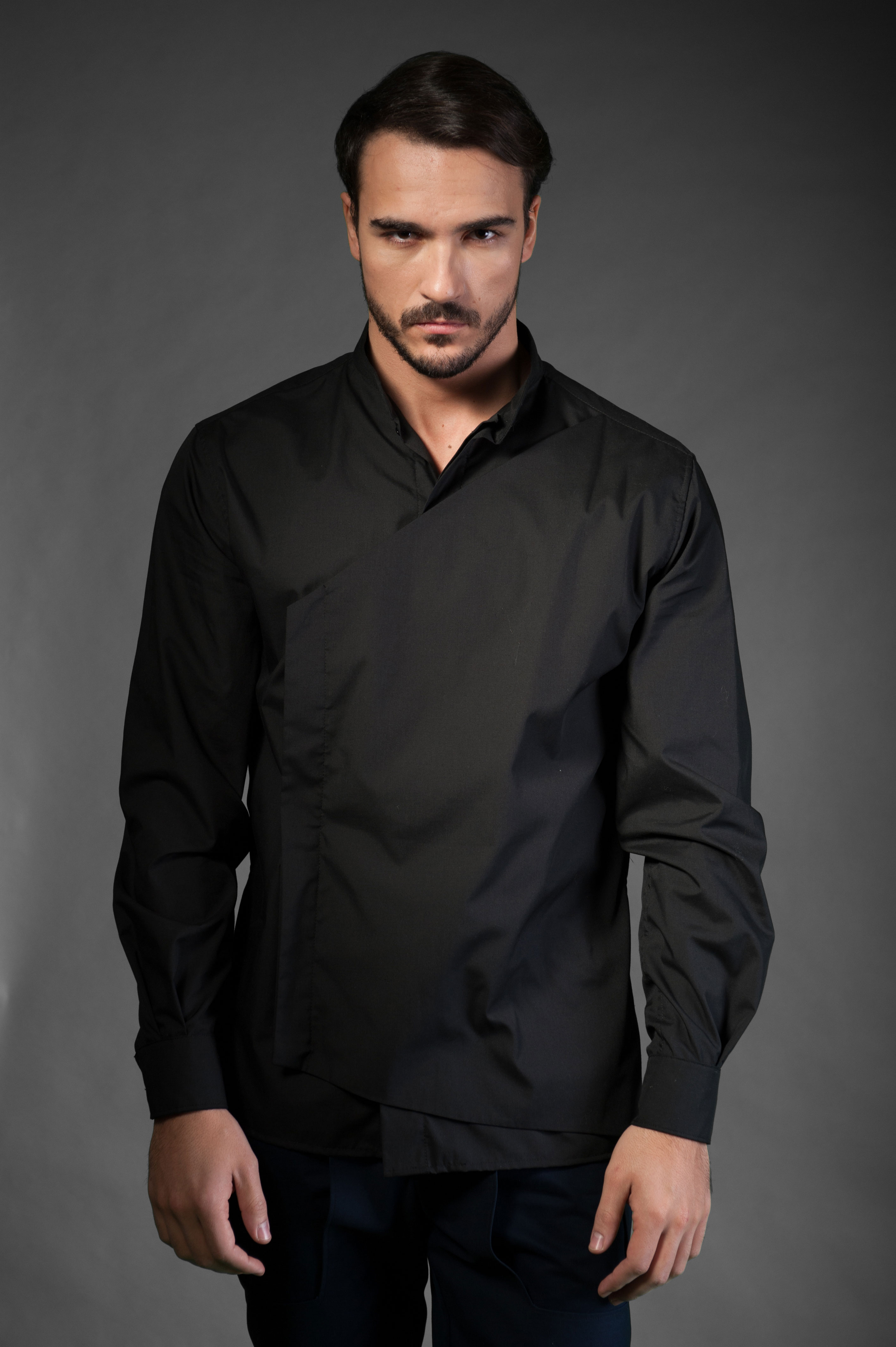 Black Shirt With Black Vest Mihher